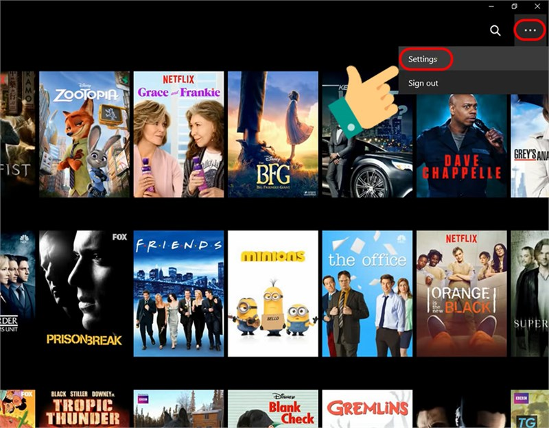 Mở cài đặt trên Netflix