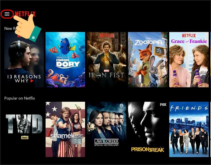 ALT: Mở biểu tượng menu của Netflix.