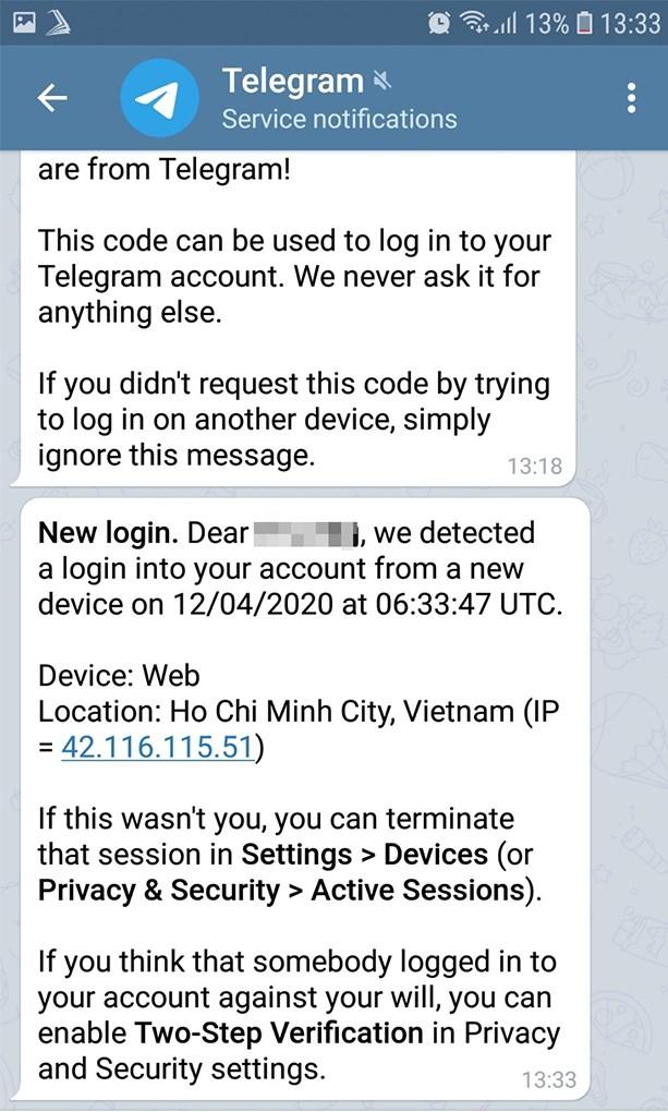 Đăng nhập Telegram thành công