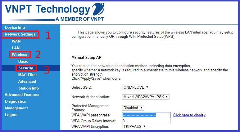 "Nhấn vào mục Network Settings > Wireless > Security"" width=""800″ height=""442″ data-original=""https://cdn.tgdd.vn/2020/04/content/hinh4-800×442.png""></strong></div> <p style="