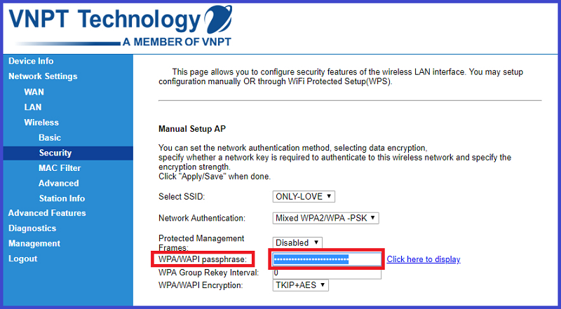 Chọn Security và nhập password mới tại WPA/WAPI passphrase