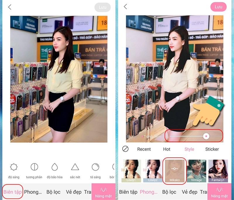 ALT: Chọn phong cách Mikako trong ứng dụng Ulike