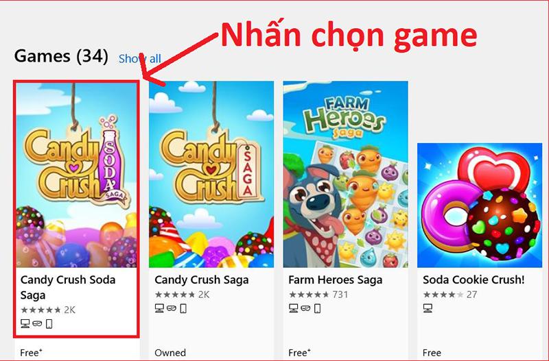 Nhấn chọn game Candy Crush Soda Saga