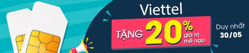 VT tặng 20% giá trị thẻ nạp ngày 30/05