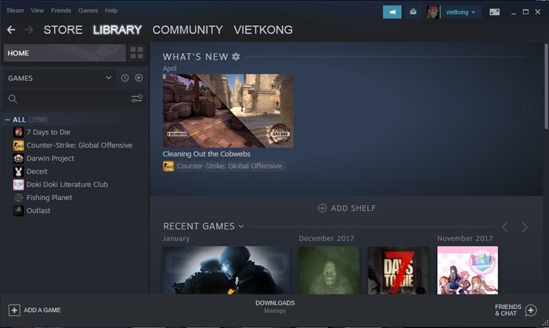 Vào trang chính của Steam