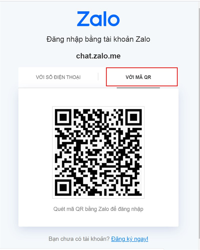 Mã QR trên ứng dụng Zalo