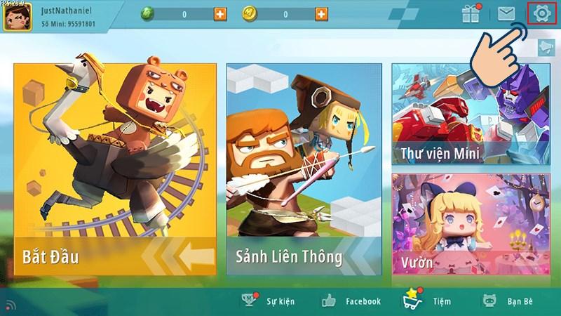 Lúc này bạn đã vào màn hình chính của game rồi. Bây giờ bạn hãy chọn vào Icon răng cưa.