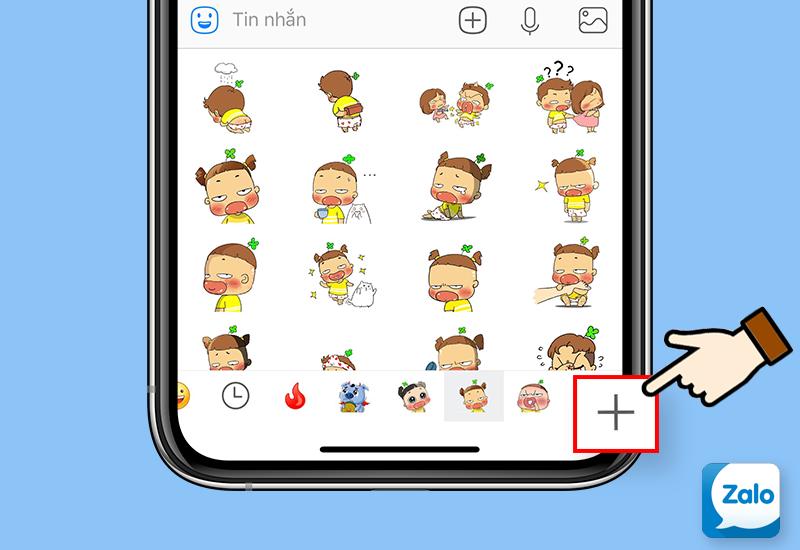 Chọn dấu + để thêm Sticker mới