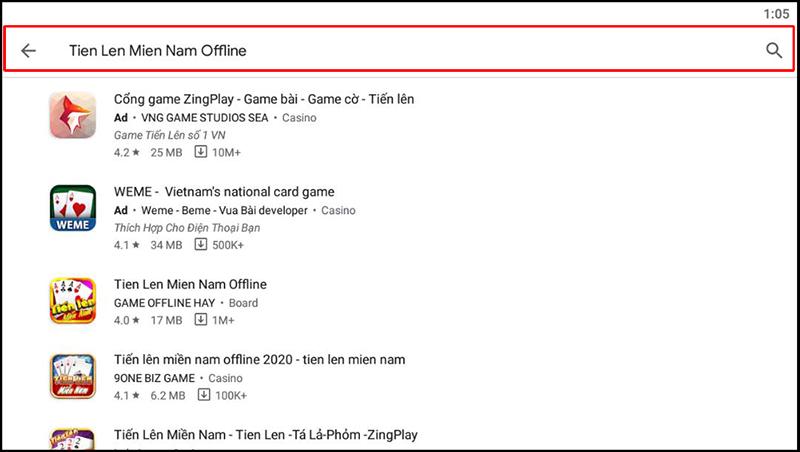 """Tại trình tìm kiếm trên Google Play, gõ tên """"Tien Len Mien Nam Offline"""""""