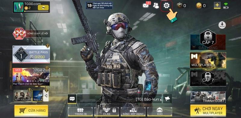 Nhấn vào biểu tượng cài đặt phía gốc phải màn hình giao diện chính của game.