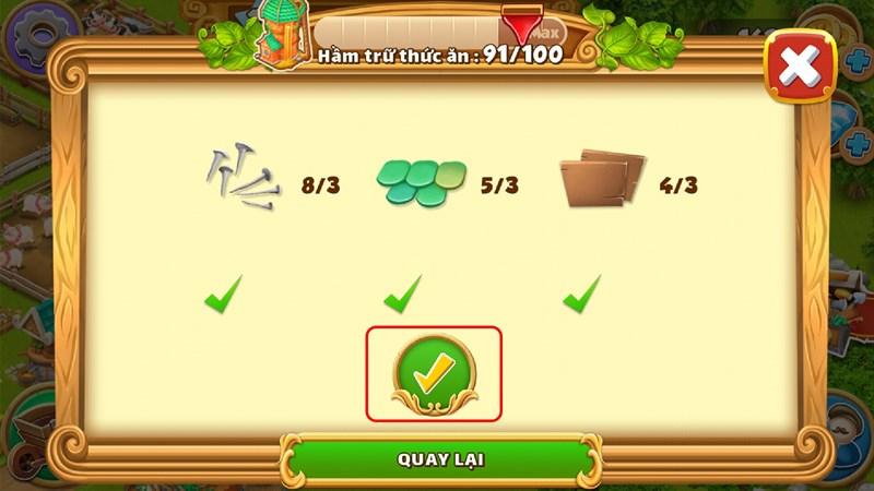 Nâng cấp kho hầm trữ thức ăn trong game