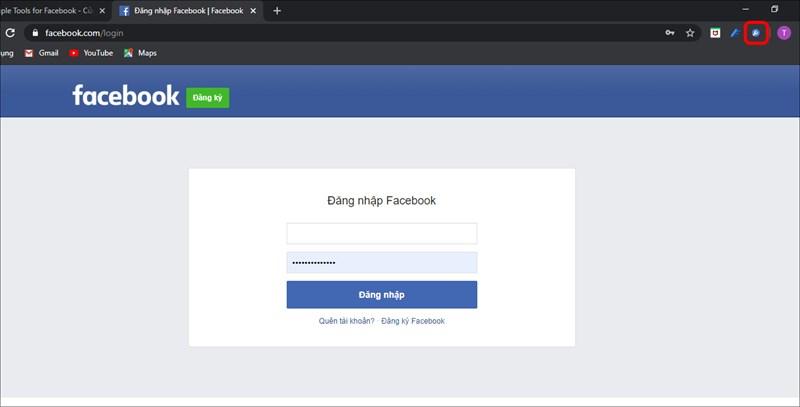 Đăng nhập tài khoản Facebook của bạn