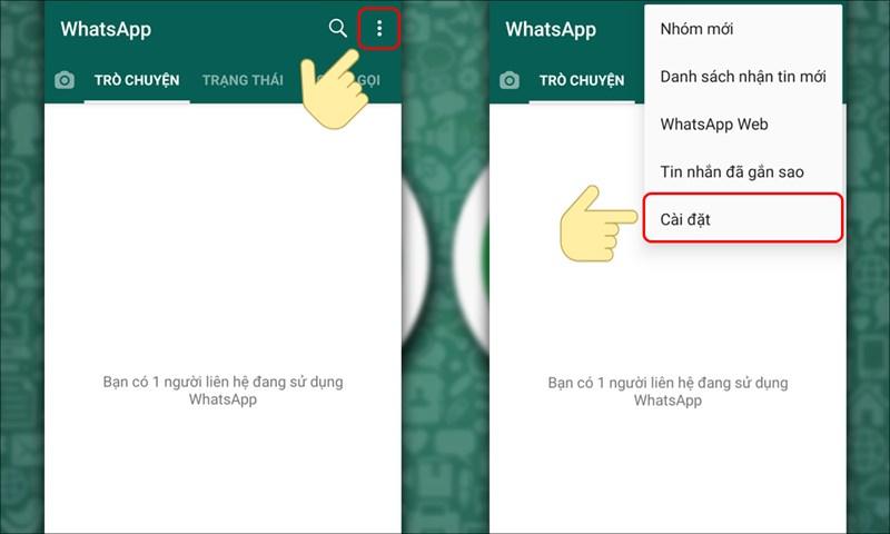Vào mục Cài đặt trên WhatsApp