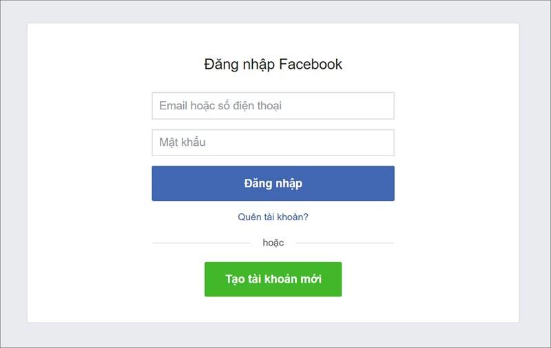 Đăng nhập tài khoản Facebook