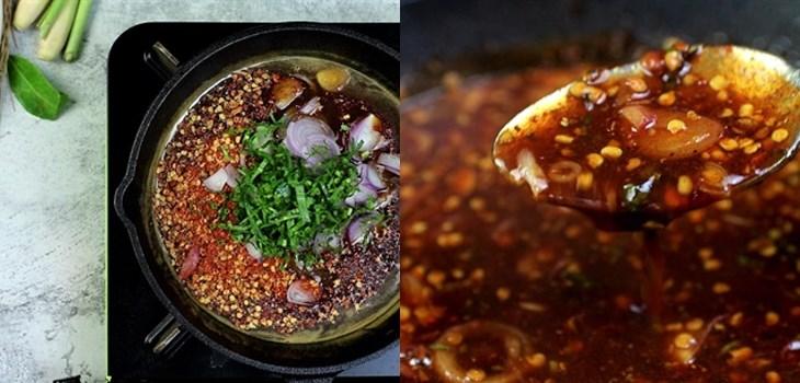Bước 1 Nấu các nguyên liệu với nhau Sốt me Thái chua cay