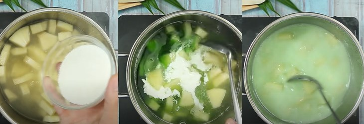 Bước 3 Nấu chè sa kê Cách nấu chè sa kê lá dứa cốt dừa dẻo ngon