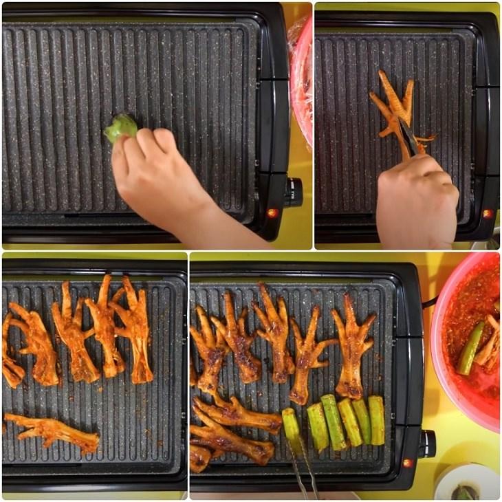 Bước 3 Nướng chân gà Chân gà nướng muối ớt