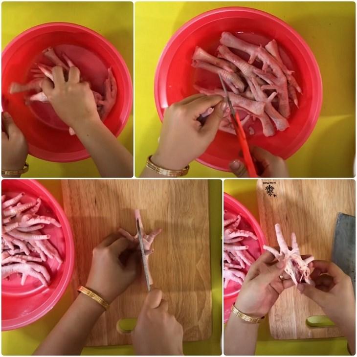 Bước 1 Sơ chế chân gà Chân gà nướng muối ớt