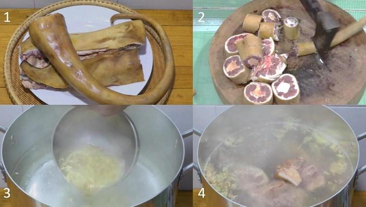 Bước 1 Sơ chế nguyên liệu Lẩu đuôi bò