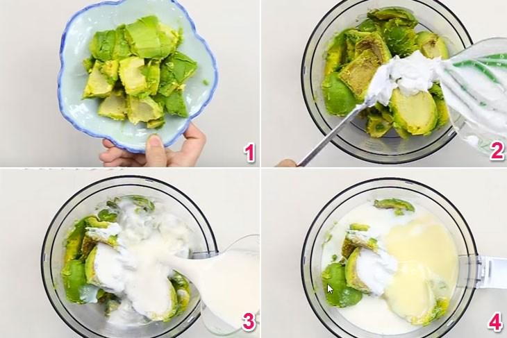 Bước 1 Xay bơ Cách làm kem bơ ngon tan chảy