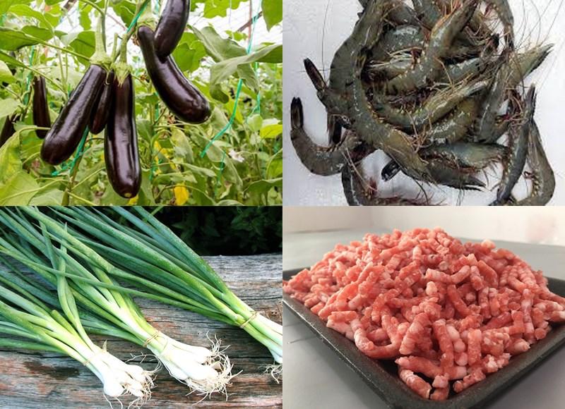 Nguyên liệu món ăn cà tím sốt tôm thịt