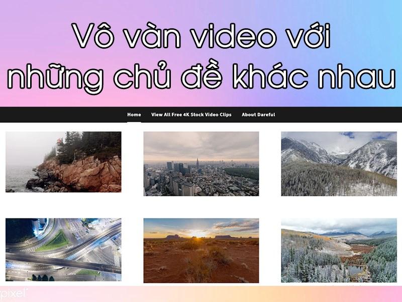 Rất nhiều video với các chủ đề khác nhau, phong cảnh thiên nhiên từ Âu sang Á, các hiện tượng tự nhiên hay cảnh quan đô thị,...