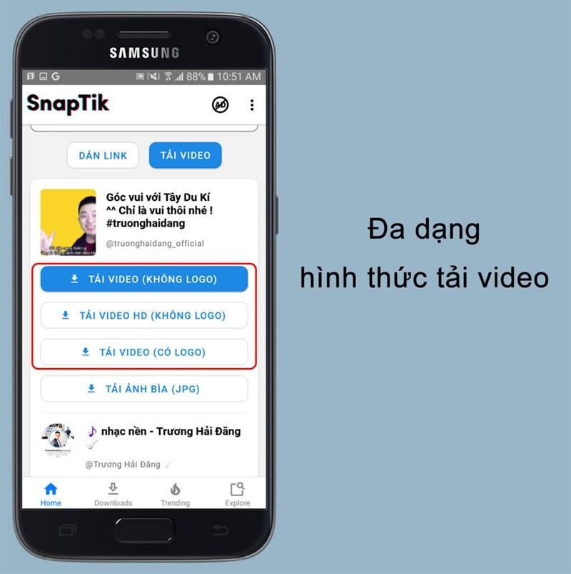 Đa dạng hình thức tải video trên ứng dụng SnapTik