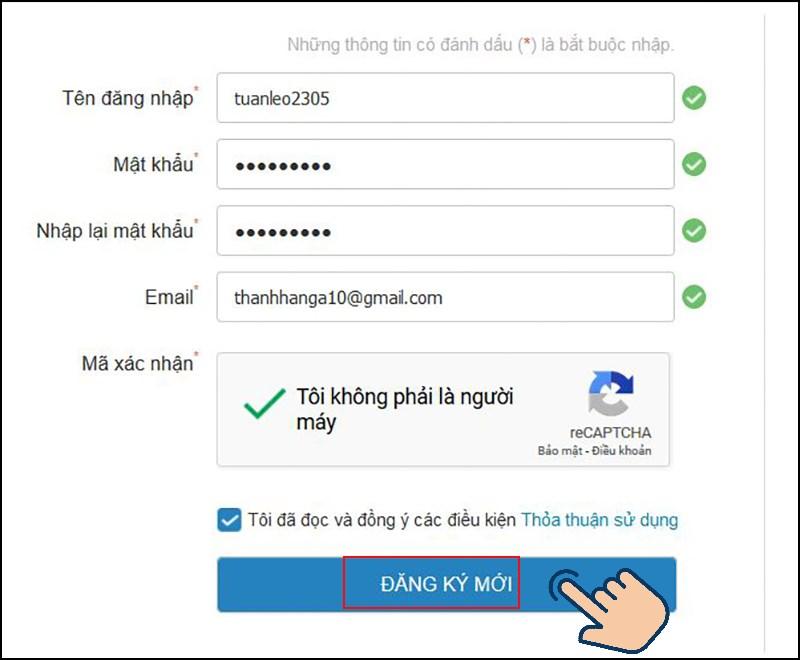 nhập các thông tin cá nhân của bạn bao gồm tên đăng nhập, mật khẩu và Email