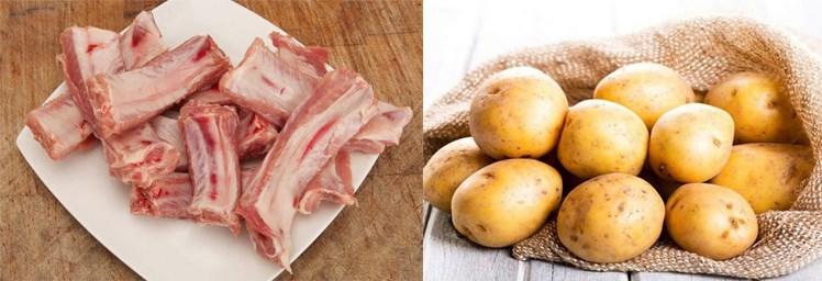 Nguyên liệu món ăn sườn nướng khoai tây
