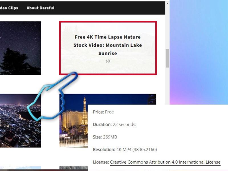 Video có thông tin đầy đủ về thời lượng, độ phân giải, độ lớn file, giấy phép cho bạn tham khảo
