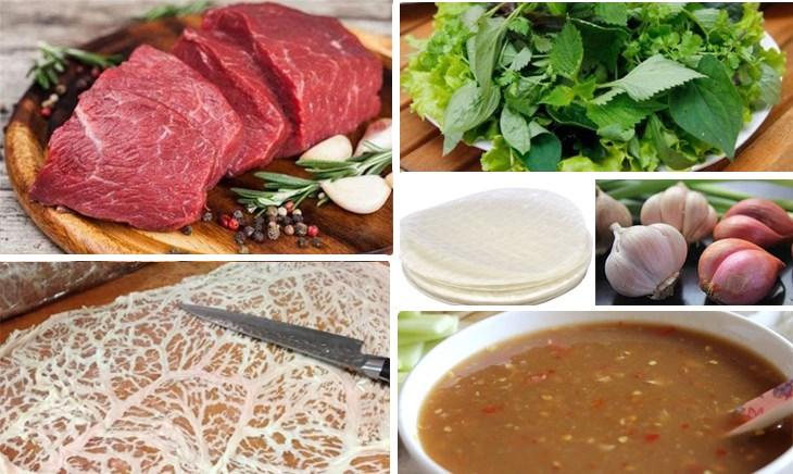 Nguyên liệu món ăn bò nướng mỡ chài