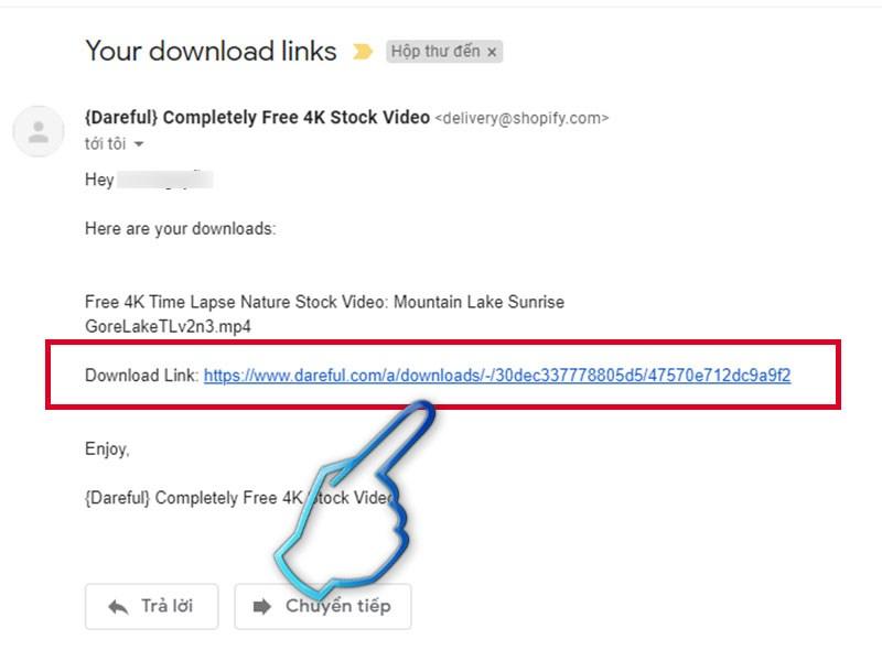 Nhấp vào link trong mail
