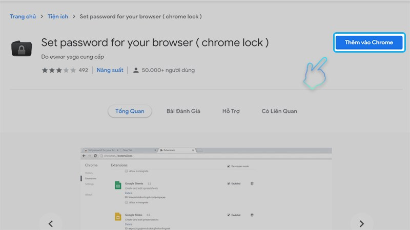 Thêm Set password for your browser vào Chrome