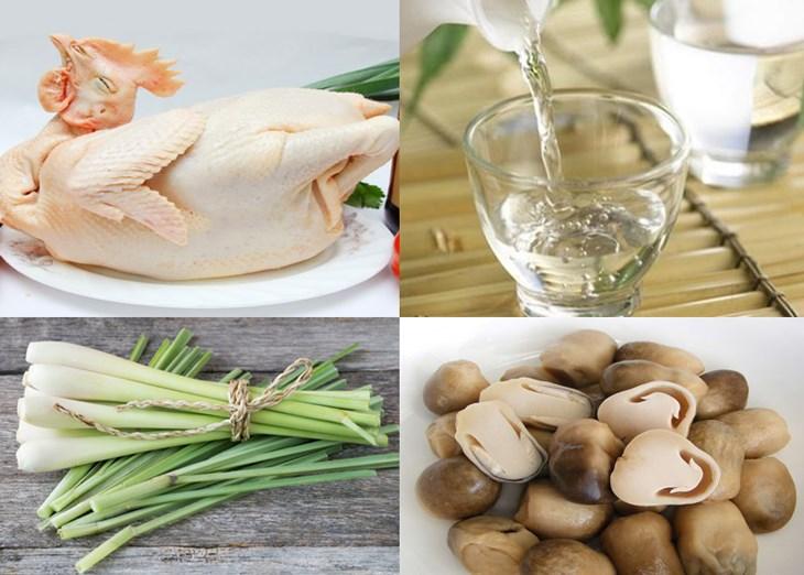 Nguyên liệu món ăn gà hấp rượu