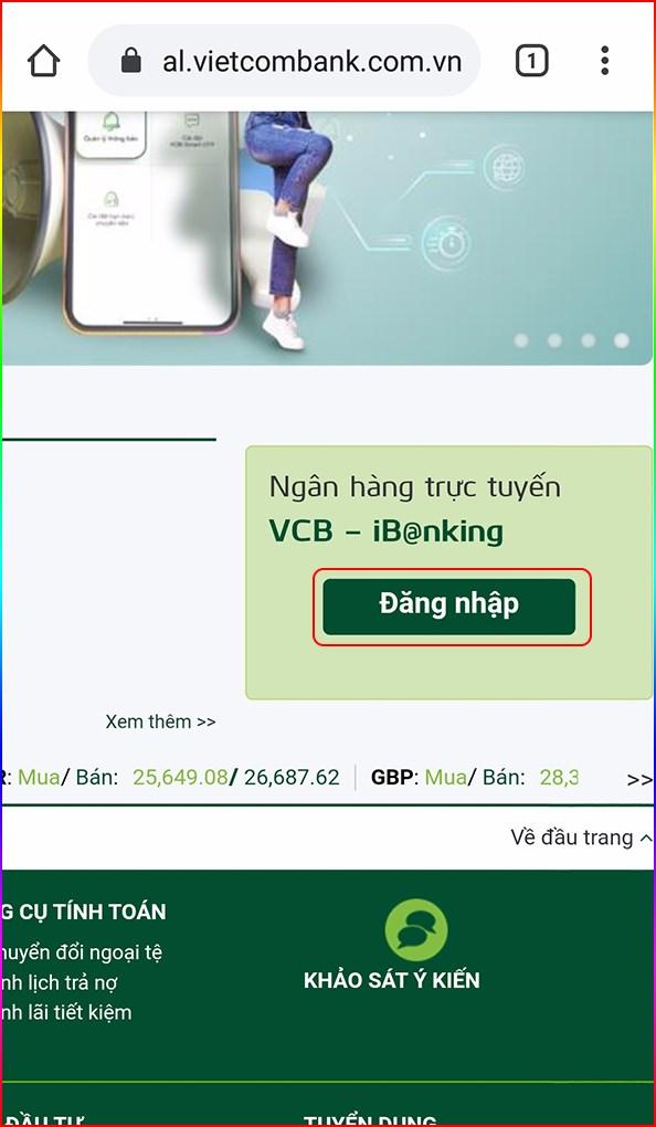 Tại giao diện trang chủ, nhấn đăng nhập