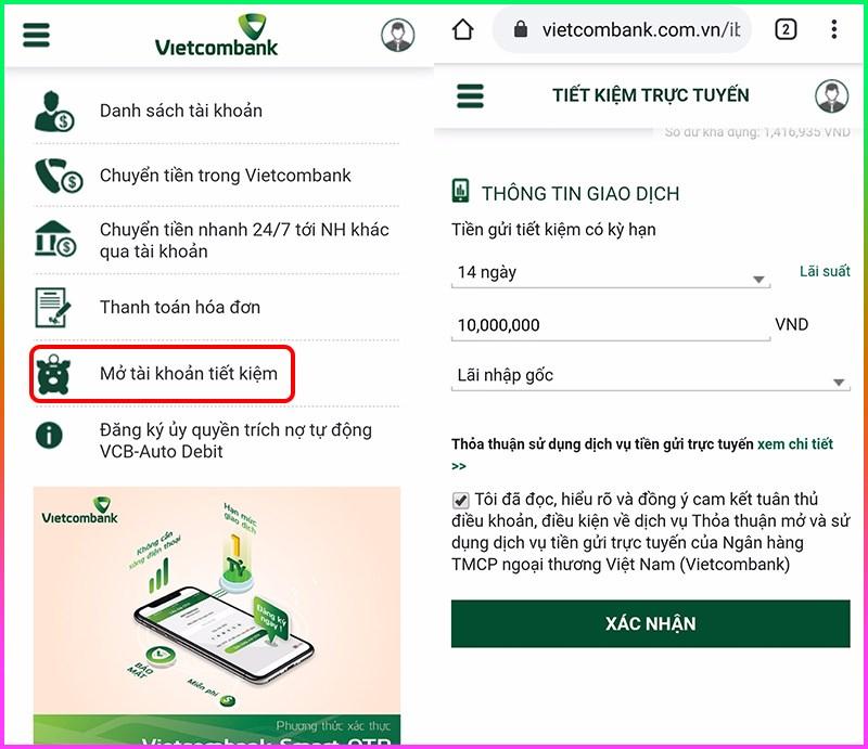 Vietcombank có hỗ trợ khách hàng mở tài khoản tiết kiệm trực tuyến