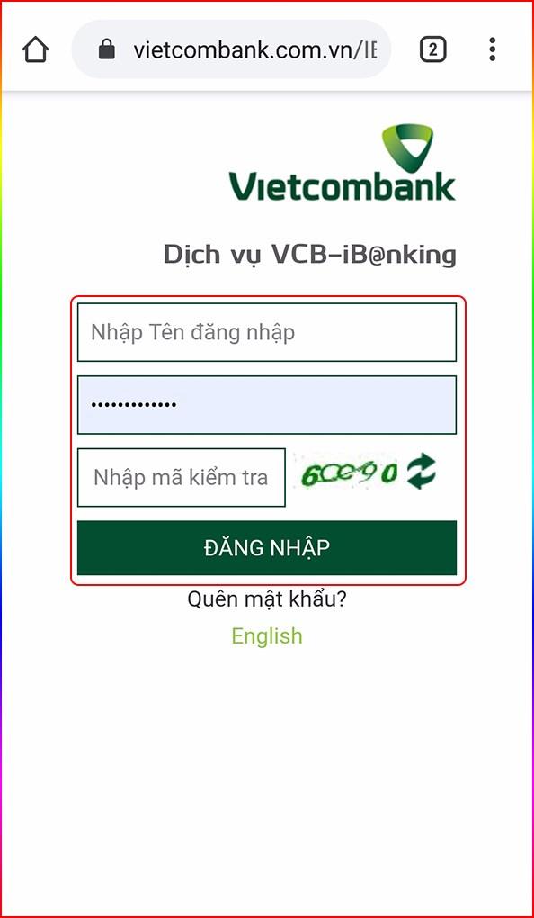Nhập thông tin đăng nhập