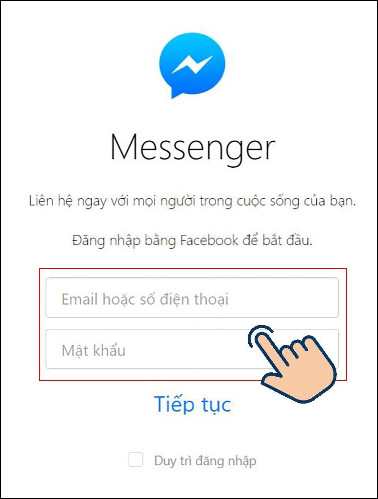 nhập số điện thoại hoặc email đăng ký và mật khẩutài khoản Facebook của bạn.
