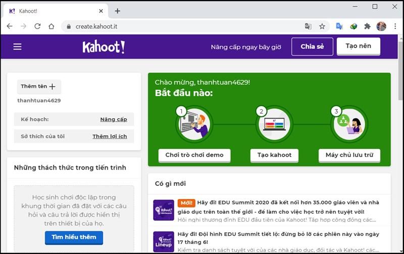 Bạn có thể trải nghiệm Kahoot lúc này