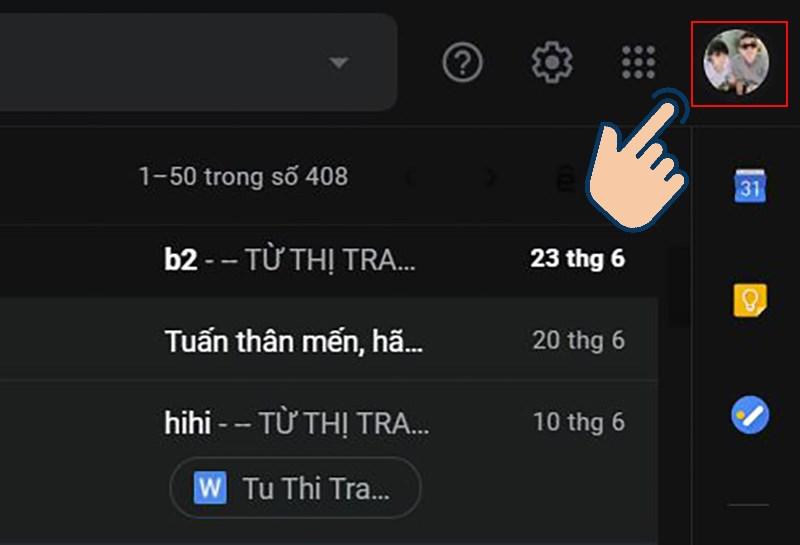 chọn vào hình đại diện Gmail ở trên cùng phía bên phải.