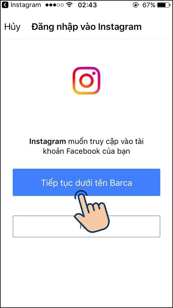 Bạn hãy cấp quyền truy cập Facebook cho Instagram.