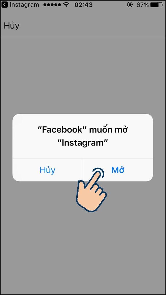 Chọn Mở để mở Instagram lại