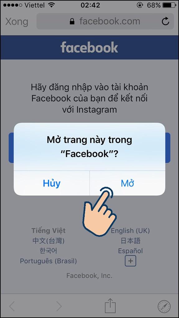 hãy chọn Mở để mở trang này trong Facebook