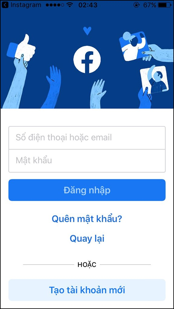 Đăng nhập Facebook muốn liên kết