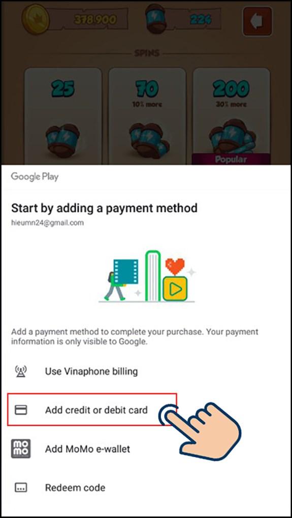 Chọn phương thức thanh toán Add credit card or debit card.