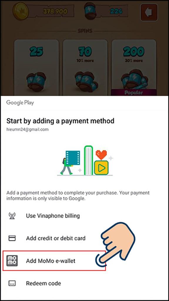 Chọn phương thức thanh toán MoMo.
