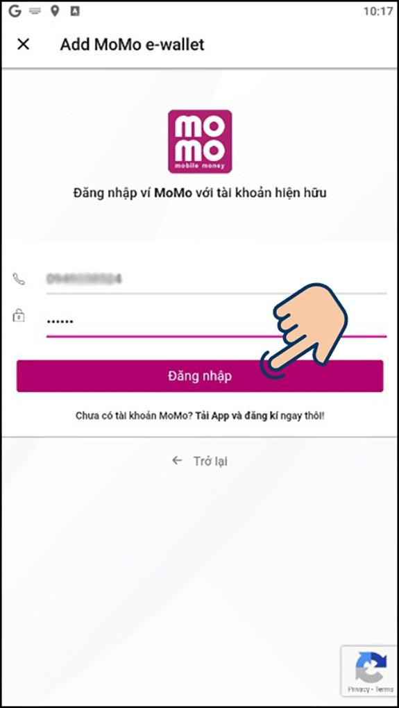 Nhập số điện thoại và mật khẩu của tài khoản MoMo của bạn, sau đó chọ vào đăng nhập.