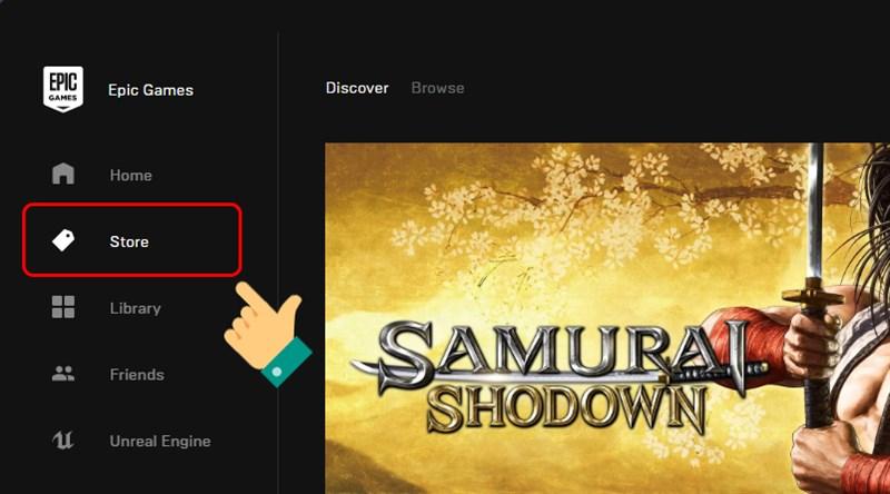 Vào Epic Games Store, bấm vào Store