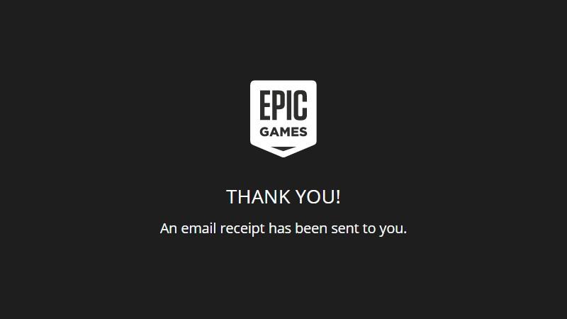 Epic Games Store gửi thông báo cảm ơn