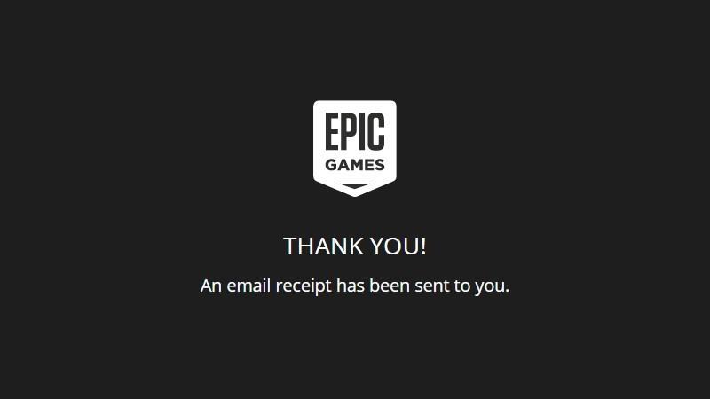 Epic Games Store thông báo cảm ơn